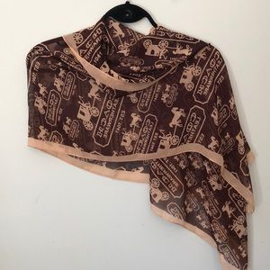 Coach Scarf - Brown with stage coach design